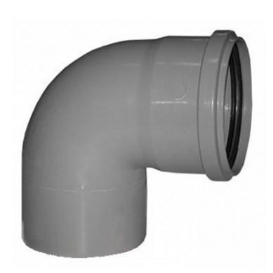 Отвод канализационный ПП Ду 110 мм 90 градусов с кольцом