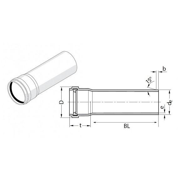 Труба канализационная Rehau Raupiano Plus 50х1500 мм