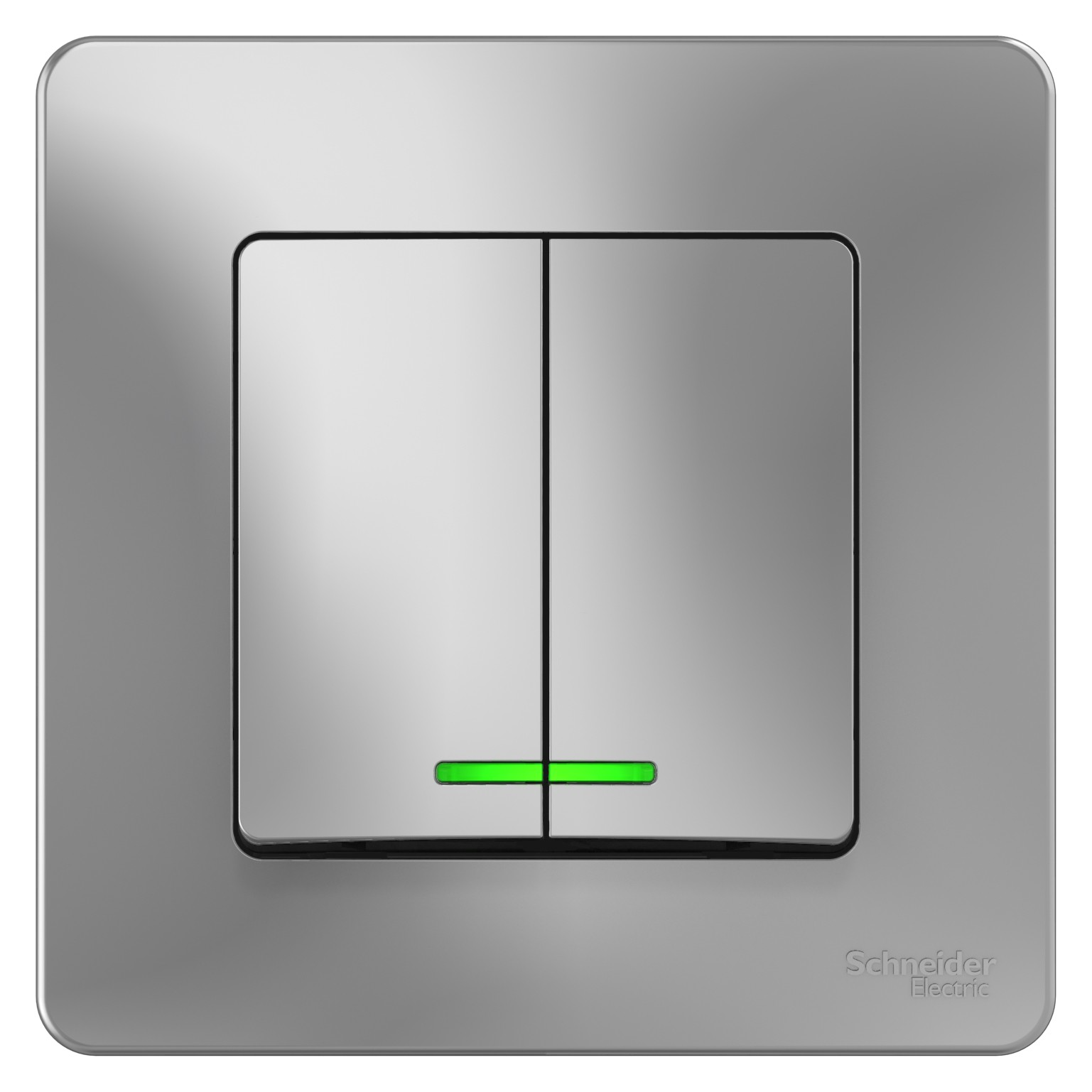 Выключатель Schneider Electric Blanca BLNVS010513 двухклавишный с индикатором алюминий