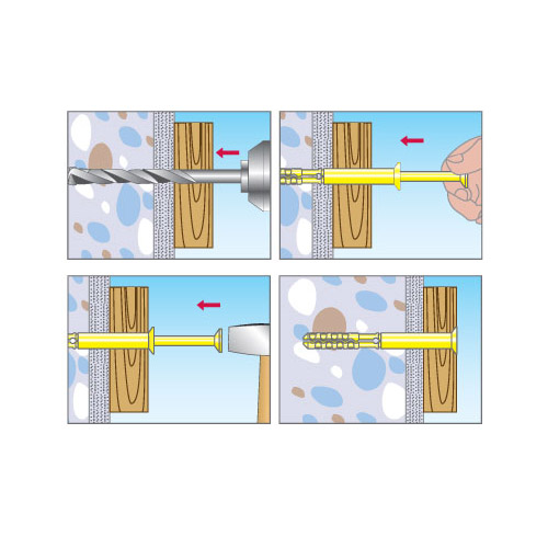 Дюбель-гвоздь 6х40 мм с грибовидным бортиком