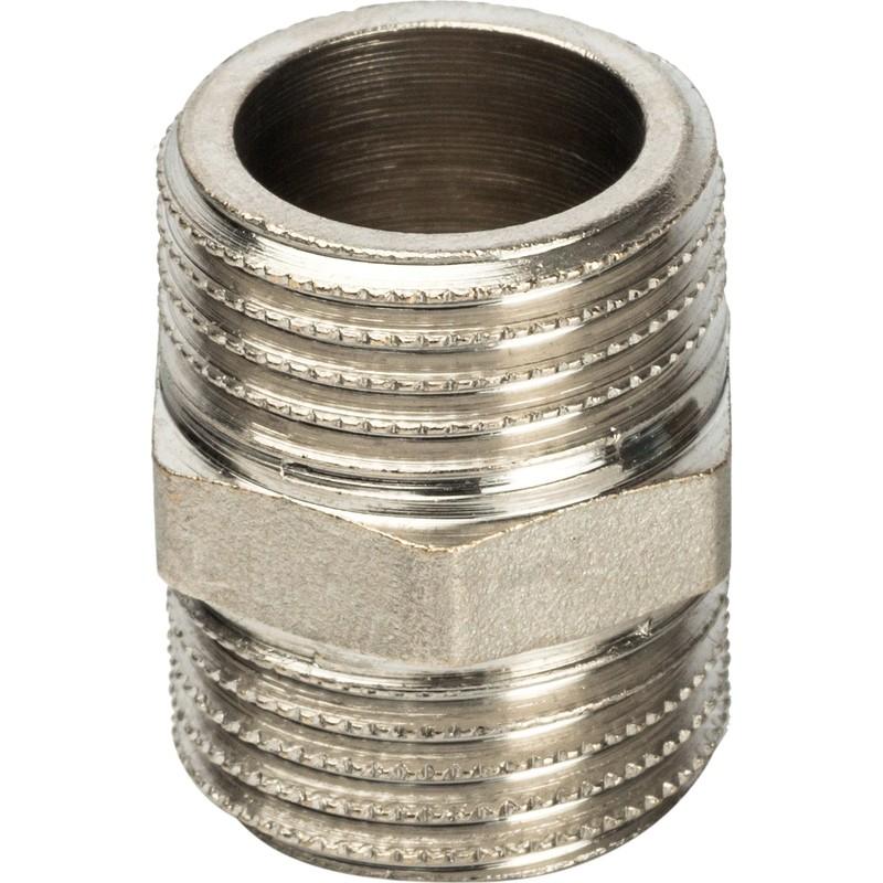 Ниппель Stout SFT-0004-001212 1/2 дюйма никелированный с наружной резьбой