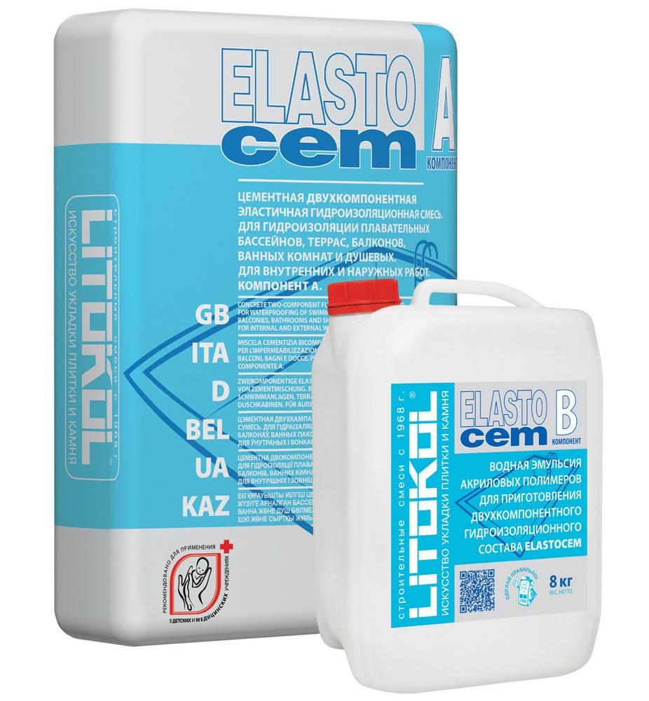 Смесь гидроизоляционная двухкомпонентная Litokol Elastocem компонент A 24 кг