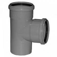 Тройник канализационный ПП Ду 50х50х50 мм 90 градусов с кольцом серый