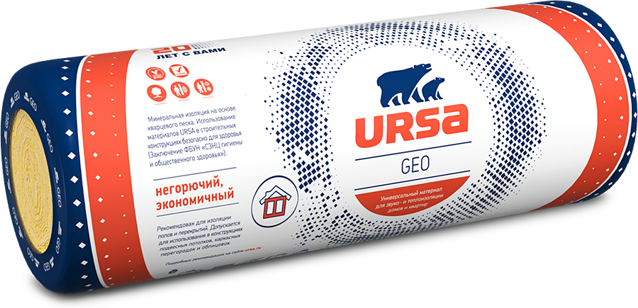 Теплоизоляция Ursa Geo Лайт 6250х1200х50 мм