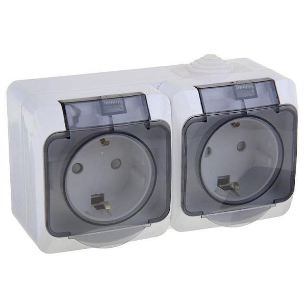 Розетка Schneider Electric Этюд PA16-244B IP44 двухместная с заземлением и защитными шторками белая