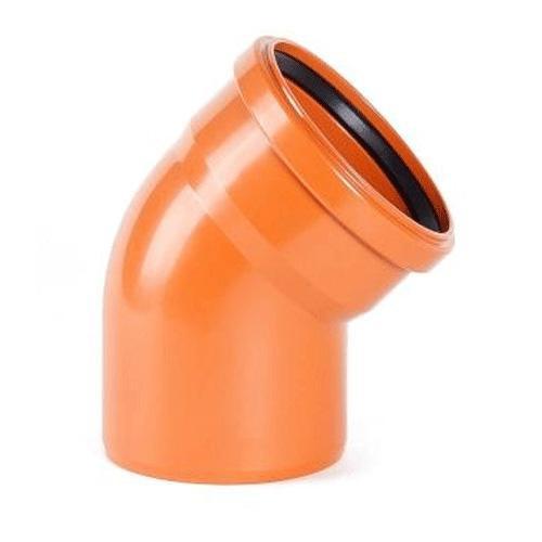 Отвод канализационный ПВХ 110 мм 45 градусов рыжий