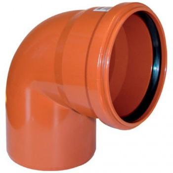Отвод канализационный ПВХ 160 мм 90 градусов рыжий