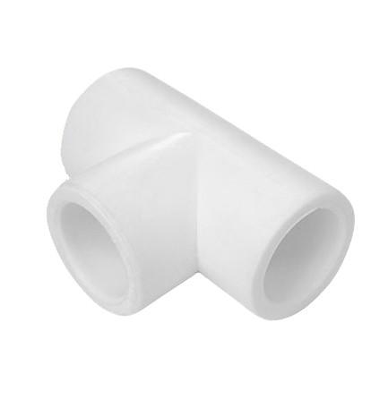 Тройник PPR Политэк 20х20х20 мм равнопроходный белый